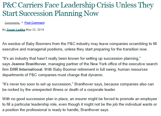 In the News: P & C Carriers Face Leadership Crisis Unless They Start